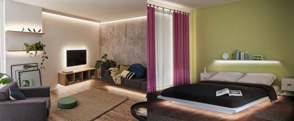 Indirekte Beleuchtung von Wand und Decke