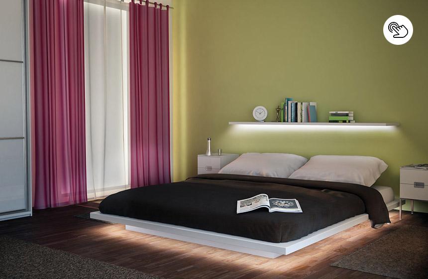 Indirekte Beleuchtung unter dem Bett