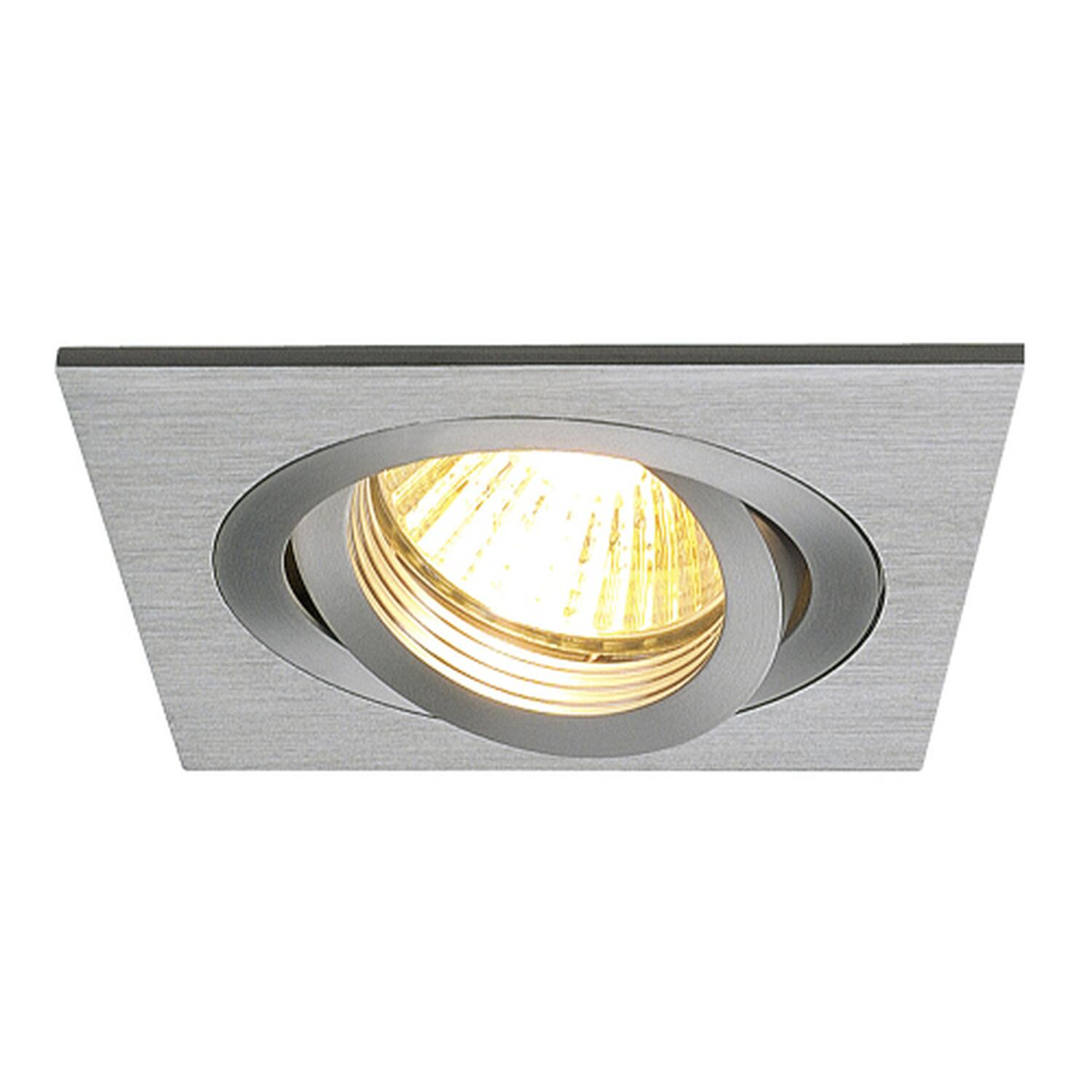 NEW TRIA I GU10 Downlight, eckig, alu brushed, max. 50W, inkl. Clipfedern