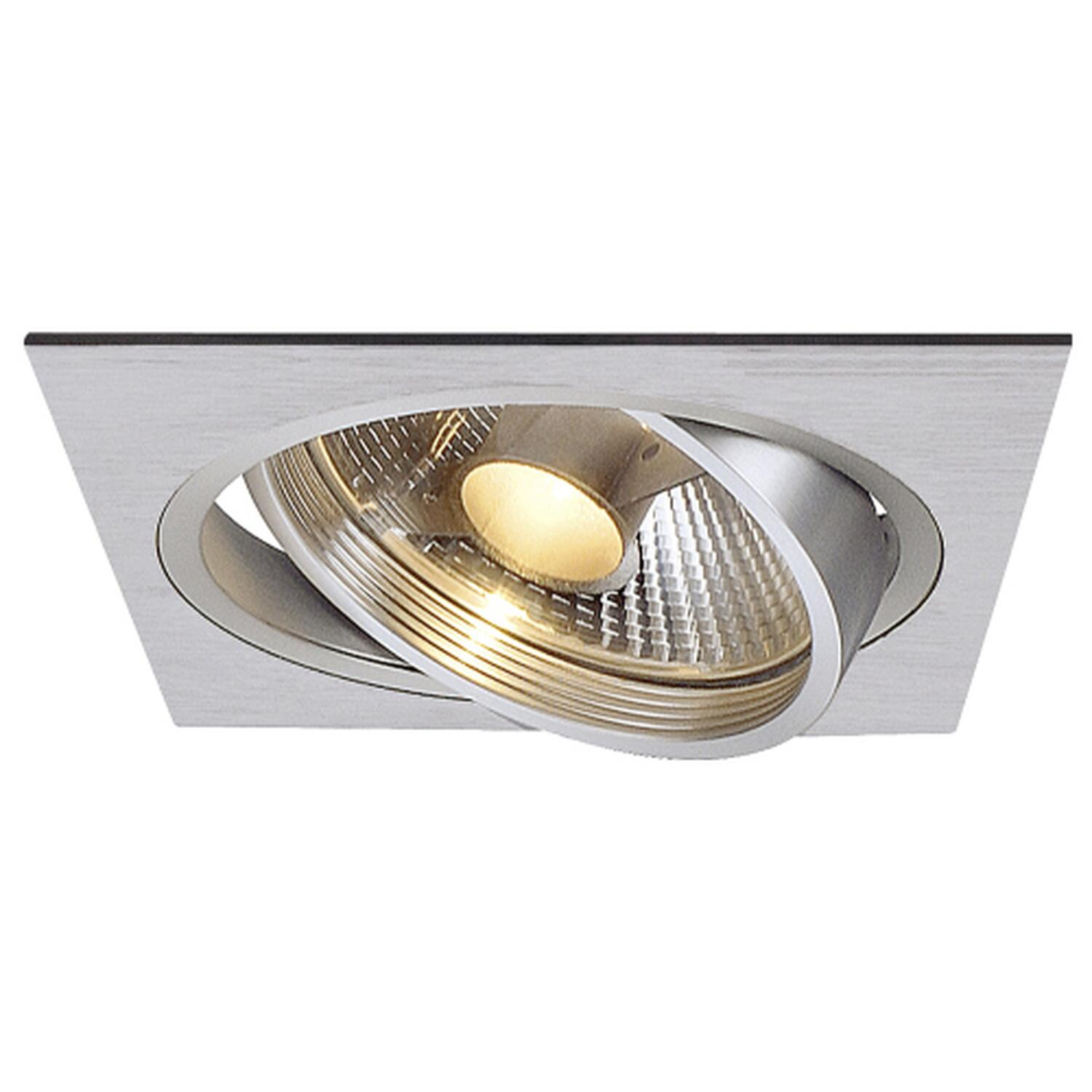 NEW TRIA I ES111 Downlight, eckig, alu brushed, GU10, max. 75W, inkl. Blattfedern